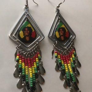 Bob Marley Beaded Earrings